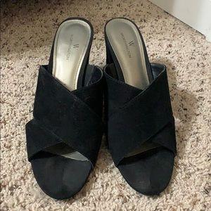Black Chunky Heel Slip On Shoe